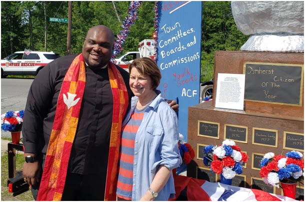 Rev. Eric Jackson and Amy Klobuchar at the July 4 Amherst NH Parade